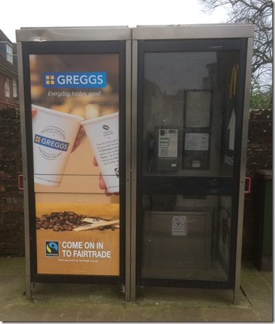 2018 phone box at entrance to cathedral grounds
